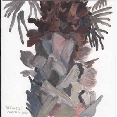 Palme c 15x15cm mischtechnik auf papier
