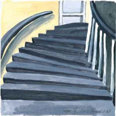 Treppe V 15x15cm aquarell