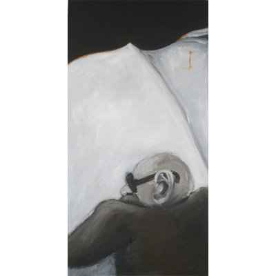 man reading paper I 50x100cm akryl lwd