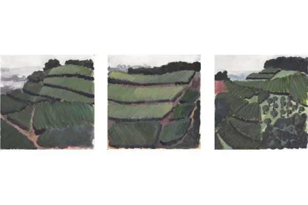suedbaden triptychon 15x15cm aquarell