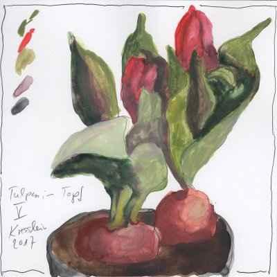 tulpen im topf V 15x15cm aquarell
