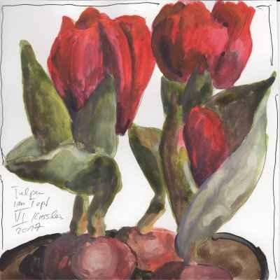 tulpen im topf VI 15x15cm aquarell