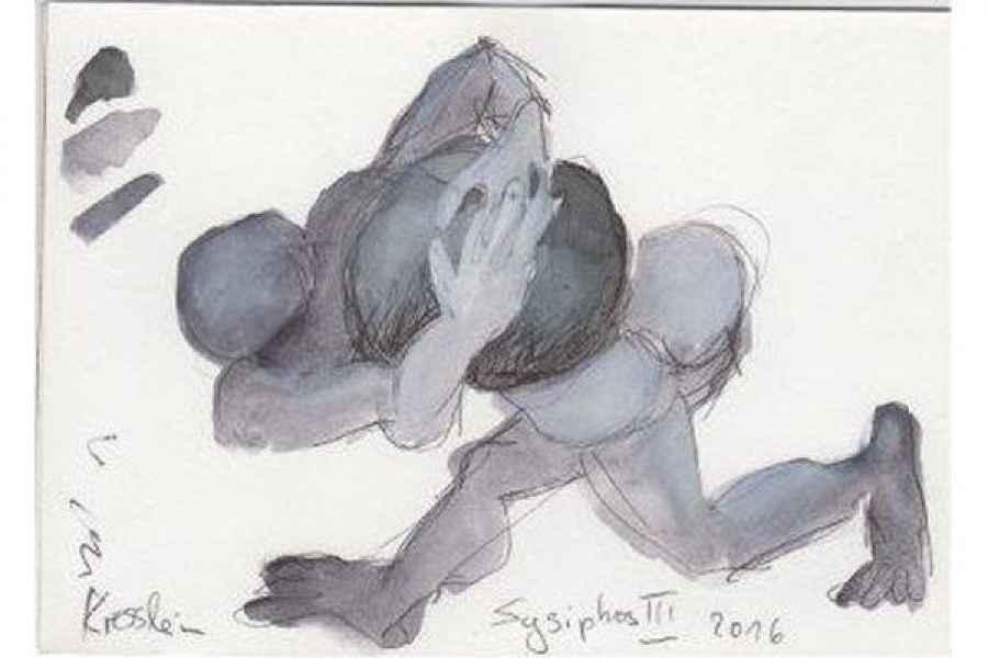 sysiphos III 15x15cm aquarell