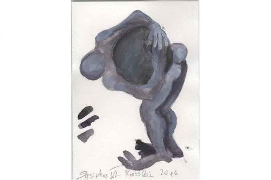 sysiphos IV 15x15cm aquarell