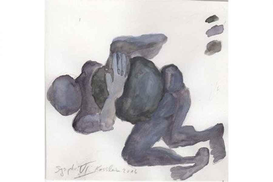 sysiphos VI 15x15cm aquarell