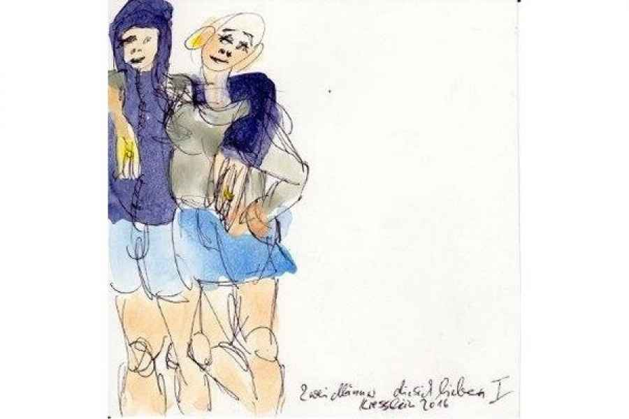 zwei maenner die sich lieben I 15x15cm aquarell