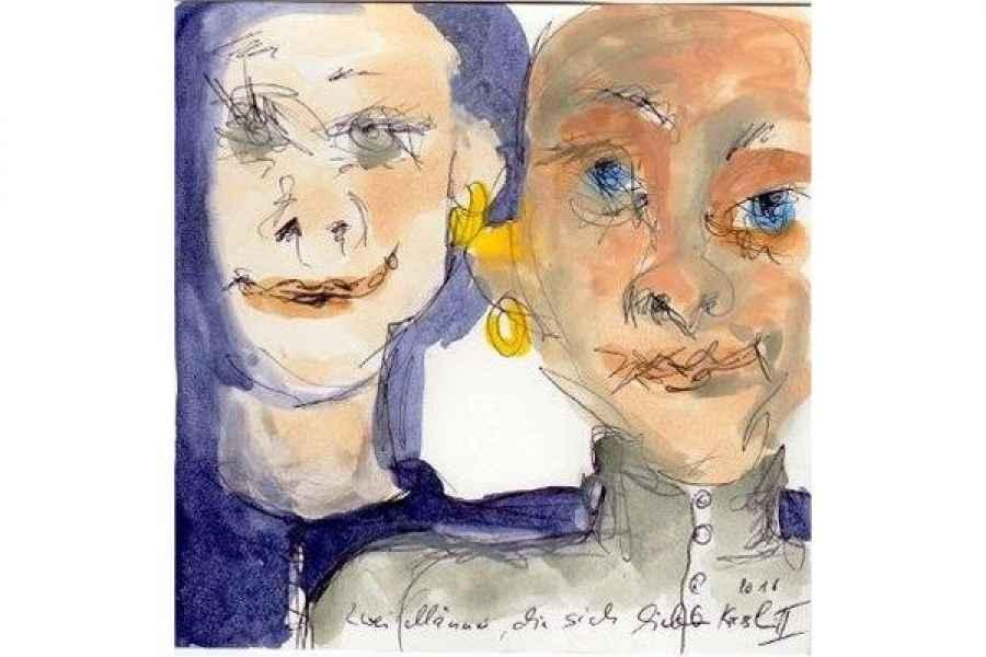 zwei maenner die sich lieben II 15x15cm aquarell